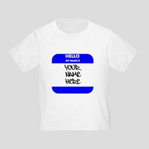 Custom Blue Name Tag T-Shirt