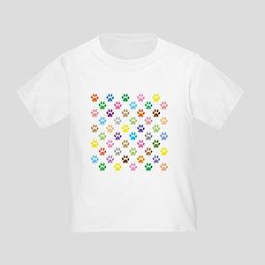 Colorful puppy paw print pattern T-Shirt