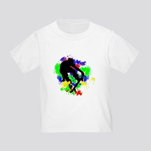 Graffiti Paint Splotches Skateboarder T-Shirt