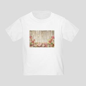 Vintage Rustic Romantic Roses Wood T-Shirt