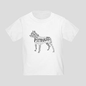 Pit Bull Word Art Greyscale Toddler T-Shirt