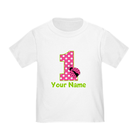 Pink Green Ladybug 1st Birthday Toddler T-Shirt
