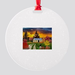 Spooky House Round Ornament