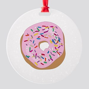 Pink Donut with Sprinkles Round Ornament