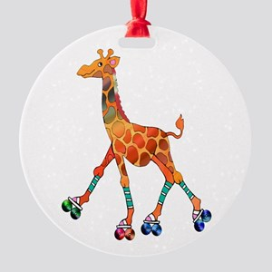 Roller Skating Giraffe Round Ornament