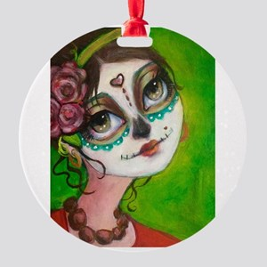 Day of the Dead Cutie Round Ornament