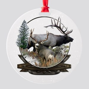 Big Game elk and deer Round Ornament