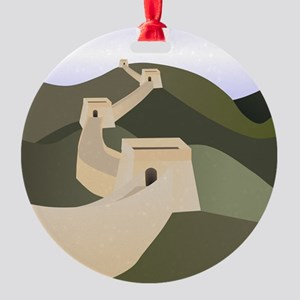 great wall of china art drawing Round Ornament