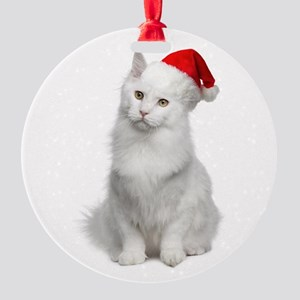 Angora Santa Cat Round Ornament