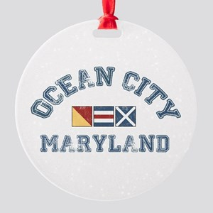 Ocean City MD - Nautical Design. Round Ornament