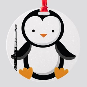 Flute Player Music Penguin Round Ornament