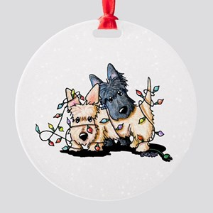 DeLighted Scotties Round Ornament