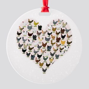 Chicken Heart Round Ornament