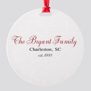Personalizable Family Black Red Ornament