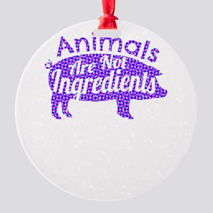 Animals Are Not Ingredients Pink Co Round Ornament