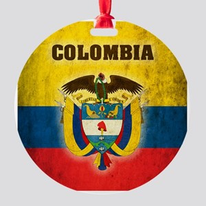 Vintage Colombia Round Ornament