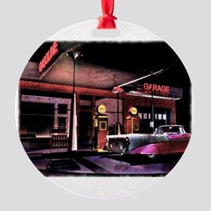 1950s Gas Station Scene Round Ornament