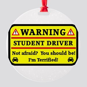 Warning Student Driver Round Ornament