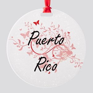 Puerto Rico Artistic Design with Butterflies Round