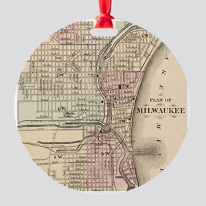 Vintage Map of Milwaukee (1880) Round Ornament