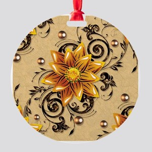 $ Flowers Round Ornament