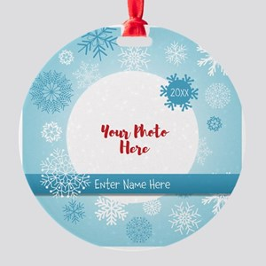 Snowflake Personalized Round Ornament Round Orname