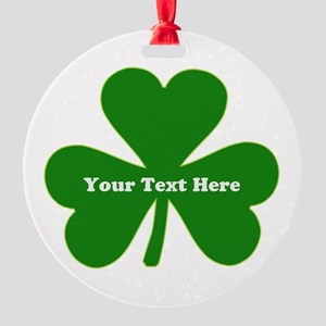 Shamrock Name Monogram Round Ornament