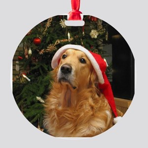 golden xmas 16x16 Round Ornament