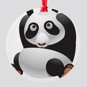 Peeking Panda Round Ornament
