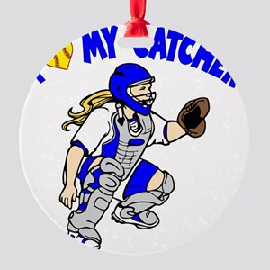 blue, I love my catcher Round Ornament