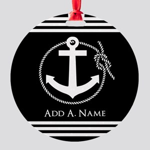 Black and White Nautical Rope and A Round Ornament