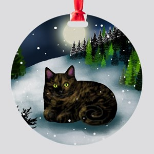 TORTOISESHELL CAT Ornament (Round)