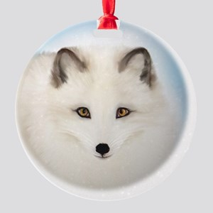Cute Arctic Fox Round Ornament