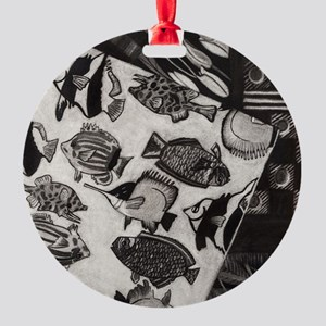 Charcoal Chaos Round Ornament