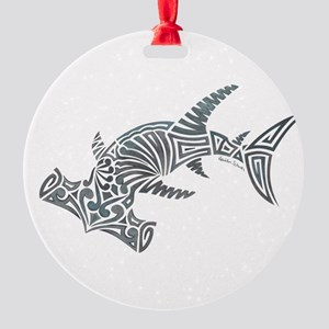 Tribal Hammerhead Shark Round Ornament