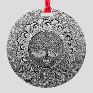 Shiny Metallic Tree of Life Yin Yang Ornament