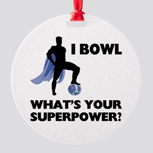 Bowling Superhero Round Ornament
