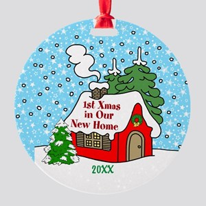 1st Christmas In New Home Round Ornament