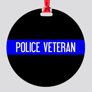 Police: Police Veteran & The Thin B Round Ornament
