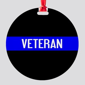 Police: Veteran & The Thin Blue Lin Round Ornament