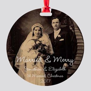 Married And Merry Christmas Holiday Round Ornament