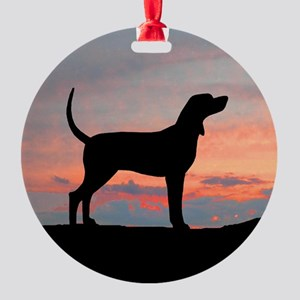 Bluetick Coonhound Sunset Ornament (Round)