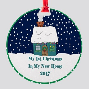 2017 My 1St Christmas Cute Cottage Round Ornament