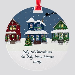 2019 My 1St Christmas House Round Ornament
