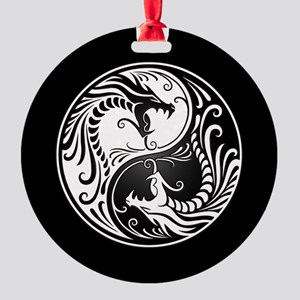 White Yin Yang Dragons with Black Back Round Ornam