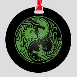 Green Yin Yang Dragons with Black Back Round Ornam