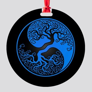 Blue Yin Yang Tree with Black Back Round Ornament