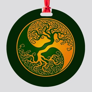 Yellow and Green Yin Yang Tree Round Ornament