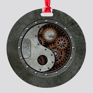 Steampunk Yin Yang Round Ornament