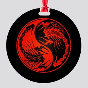 Red Yin Yang Scorpions on Black Round Ornament